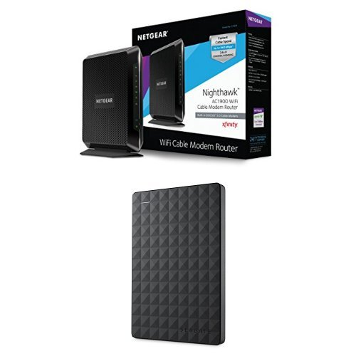 NETGEAR Nighthawk AC1900 Wi-Fi DOCSIS 3.0 Cable Modem Router (C7000-100NAS) & Seagate Expansion 1TB Portable External Hard Drive USB 3.0 (STEA1000400) Bundle image