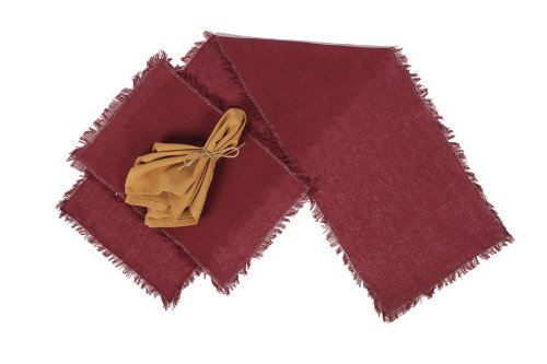 Tobacco Cloth Merlot Placemat Set of 2 Fringed 12x18