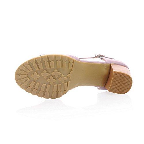 Odomolor Mujeres Hebilla Puntera Abierta Material Suave Tacón Medio Sólido Sandalias de vestir Morado
