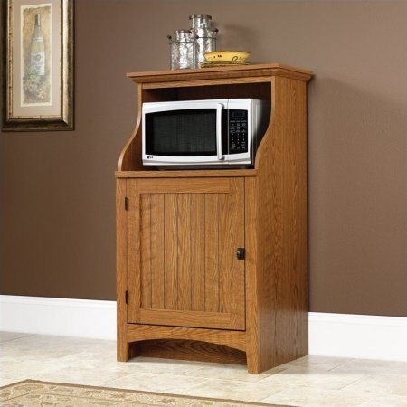 Kitchen Microwave Stand Cabinet, Adjustable Shelf Behind The Door, Open Storage, Functional Furniture, Space Saver, Made From Engineered Wood, Oak (Oak Finish Microwave Cart)