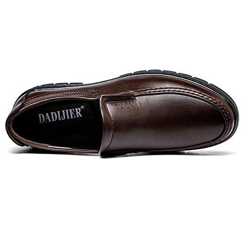 Caballeros para Hombres de para Planos los la de los de Zapatos de Suela Cómodos los PU Darkbrown la los Holgazanes Cuero de Hombres Hermosos Zapatos fRxgqn14
