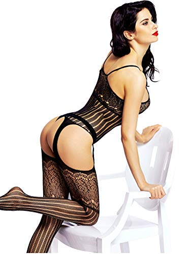 Amoretu Women's Crotchless Bodystocking Fishnet Bodysuit Lingerie Black 56