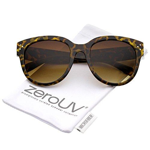 Womens Oversize Horn Rimmed Wide Temple Cat Eye Sunglasses 56mm