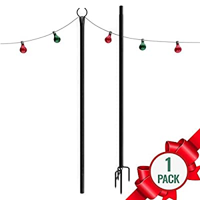 Holiday Styling Outdoor Christmas Lights Pole - Sturdy Steel Powder Coated for Hanging Decorations + Ornaments - Light Up Garden or Yard w LED Solar String Light Décor
