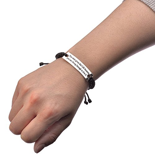 You were given this Life because You are Stronger Enough to live it Personalized Custom Inspirational Leather Braid Bracelet Black