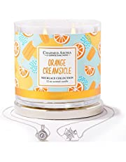 Charmed Aroma 2-Wick, Orange Creamsicle Jewelry Candle with Surprise Necklace Inside