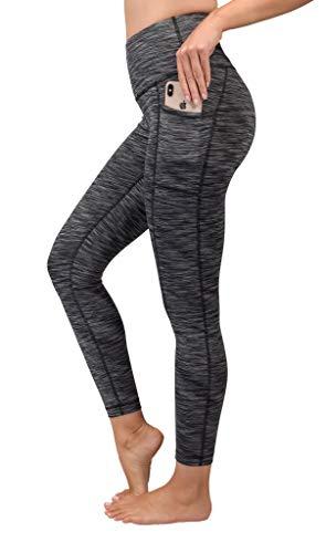 90 Degree By Reflex High Waist Tummy Control Interlink Squat Proof Ankle Length Leggings - Black Space Dye - Large