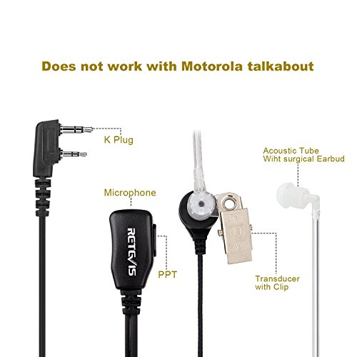 2-Pin Acoustic Tube Headset Earpiece for Baofeng UV5R Kenwood Retevis H777 Radio