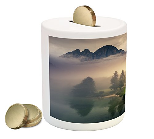 Landscape Coin Box Bank By Ambesonne  Majestic Foggy Morning Scene Triglav National Park Mountain Valley Dramatic View  Printed Ceramic Coin Bank Money Box For Cash Saving  Beige Grey
