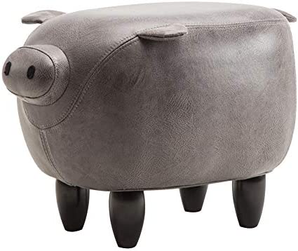 WUFENG Footstool Solid Wood Piggy Change Shoe Bench Household Small Stool, 2 Colors Color Gray, Size 49x33x35cm