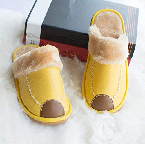 2 JaHGDU Ladies Casual Cotton Slippers Indoors to Keep Warm in Autumn and Winter Leather Slippers Purple Yellow orange Green Pink