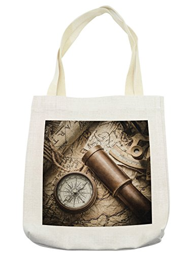 Lunarable Compass Tote Bag, Vintage Still Life with Compass Sextant Spyglass Old Map Marine Life Artwork Print, Cloth Linen Reusable Bag for Shopping Books Beach and More, 16.5