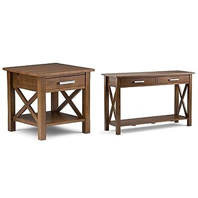 Simpli Home Kitchener End Side Table, Medium Saddle Brown + Simpli Home Kitchener Console Sofa Table, Medium Saddle Brown :Bundle