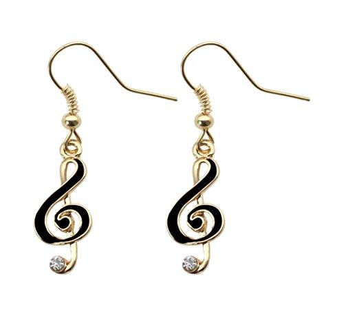 Fusamk Hip Hop Alloy Music Note Crystal Dangle Hook Earrings