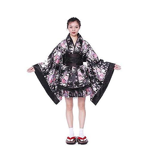 Women Japanese Lolita Kimono Cosplay Sakura Printed Anime CostumeLblack