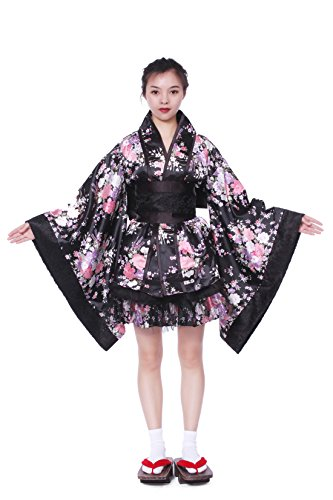 Nuotuo Women Japanese Lolita Kimono Cosplay Sakura Printed Anime Costume(M,black) ()