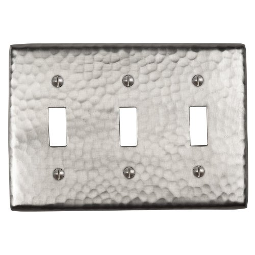 The Copper Factory CF127SN Solid Hammered Copper Triple Switch Plate, Satin Nickel Finish