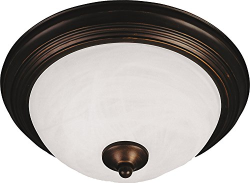 Maxim 5842MROI Essentials 3-Light Flush Mount, Oil Rubbed Bronze Finish, Marble Glass, MB Incandescent Incandescent Bulb, W Max, N/A Safety Rating, Glass Shade Material, Rated Lumens ()