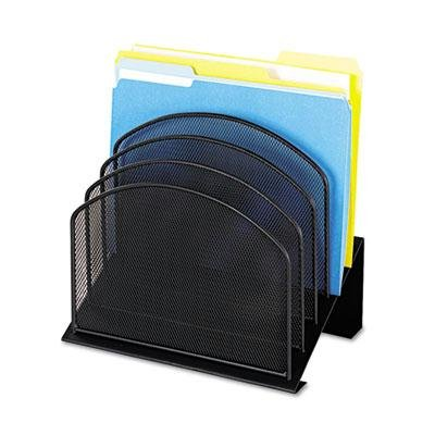 Safco - Mesh Desk Organizer Five-Tiered Sections Steel 11 1/4 X 7 1/8 X 11 5/8 Black ''Product Category: Desk Accessories & Workspace Organizers/Sorters''