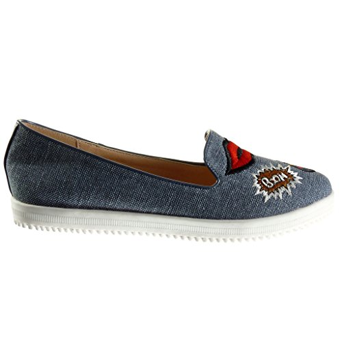Heel on Blue Flat Fantasy Shoes Slip 1 5 Embroidered Women's Fashion Angkorly Mocassins cm RFgSxS