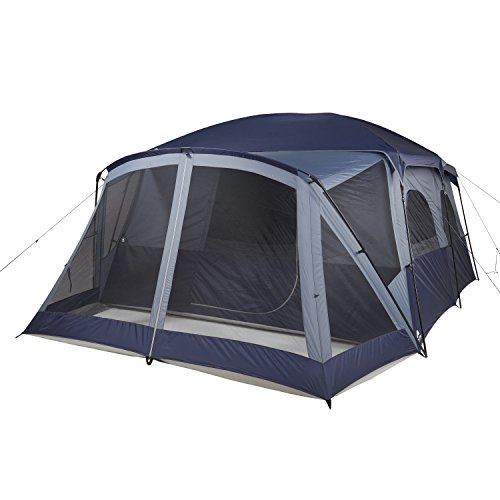 Feels Like Home Away From Home With Separate Sleeping And Living Space Tough Easy Care And Store Spacious Ozark Trail 12-Person Cabin Tent With Screen Porch, Power Cord, Organizer BLUE/GREY