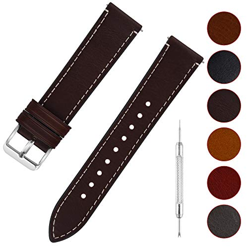 2f5809076 Quick Release Leather Watch Band, Fullmosa 6 Colors Wax Oil 14mm 16mm 18mm  20mm 22mm