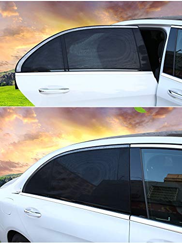 4 Pack Car Window Shades Black Front and Rear Window Sun Shades Protect Baby and Pets from Harmful UV
