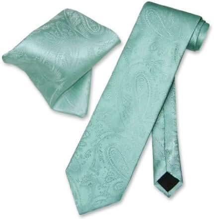 Vesuvio Napoli Aqua Green PAISLEY NeckTie & Handkerchief Matching Tie Set
