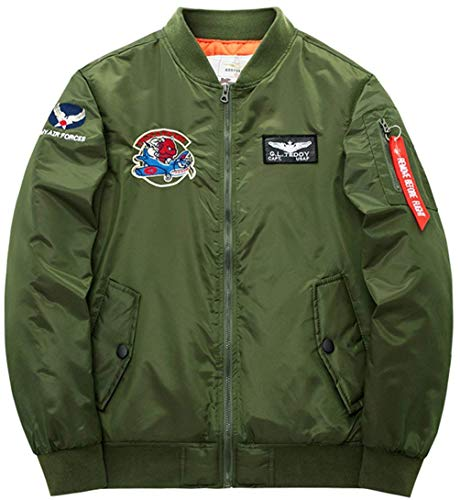 Uomo Da Badge Comodo Con Giacca Flight Vintage Patch Vento armeegrün Air Force Battercake Leggera color Classica Jacket Size Bomber Per 5 L Zip A EUtcnwpq