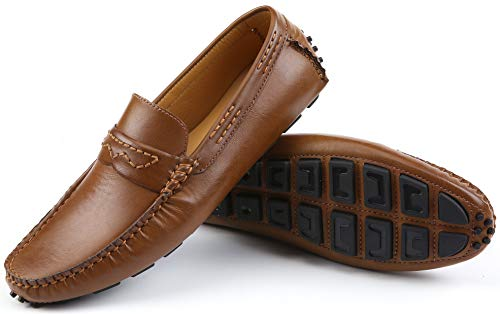 Mio Marino Mens Loafers - Italian Dress Casual Loafers for Men - Slip-on Driving Shoes - in Gift Shoe Bag - Cultured Pebble Leather Loafer - Golden Teak - Size - Style Shoes Italian Dress Brown