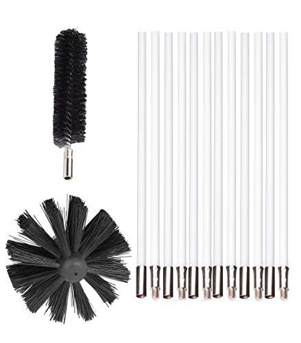- Flexible Dryer Vent Cleaning Kit Combo, Lint Remover, Extends up to 12 Feet, Synthetic Brush Head, Use with or Without a Power Drill