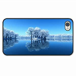 Diy Phone Cases ipad iphone 4/4s Nature Island Trees Frost Lake Frozen Cleanliness Surface Of Unique Gift Black Case Cover For Women
