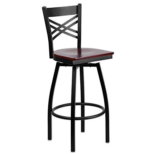ULES Series Black ''X'' Back Swivel Metal Barstool - Mahogany Wood Seat ()