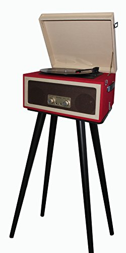 TechPlay CTA99 3speed portable turntable with matching stand. AUX in and Headphone jack and built-in speakers. (Red) by TechPlay