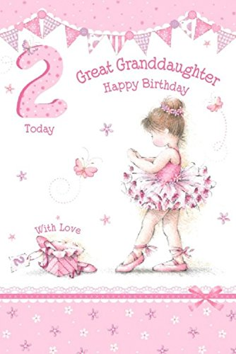 Great Granddaughter 2nd 2 Today Happy Birthday Card With A Lovely Verse By Grassroots