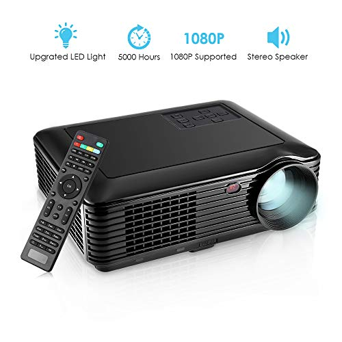 GBTIGER 4000 Lumens Portable Home Projector, 1280 x 800 Pixels Support Full 1080P Multimedia LCD Projector with VGA HDMI USB AV DC Port for Home Theater Cinema Moive Video Paties Games]()
