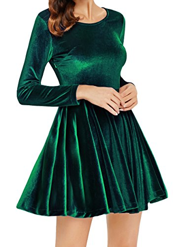 Annigo Velvet Dress for Women Long Sleeve Pleated New Years Eve Dress,Dark Green,Small by Annigo (Image #6)