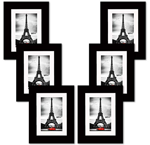 Black Beveled Glass - Hall of Frame~Newest Collection: Diamond in The Ruff Picture Frames~ 6-Pack of 5 7 Real Black Wood Photo Frames, Tempered Glass, Beveled Ivory White Mat Board, Comes in 2 Colors