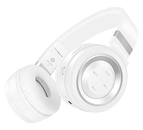 Honstek P6 drahtlose Bluetooth 4.0-Stereo-Kopfhörer, Hifi, faltbar, On-Ear mit Micro, Lautstärkeregler und Audio-Kabel, Unterstützungs-TF-Karte und FM-Radio (Weiß/Silber)