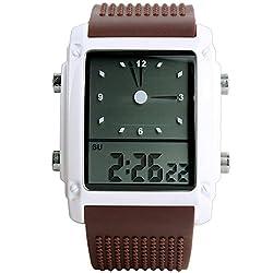Men Women LED Light Digital Analog Alarm Silicon Multifunction Waterproof Quartz Watches - Coffee