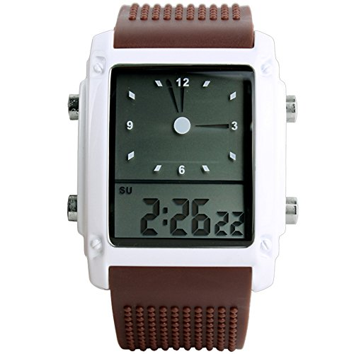 (Men Women LED Light Digital Analog Alarm Silicon Multifunction Waterproof Quartz Watches - Coffee)