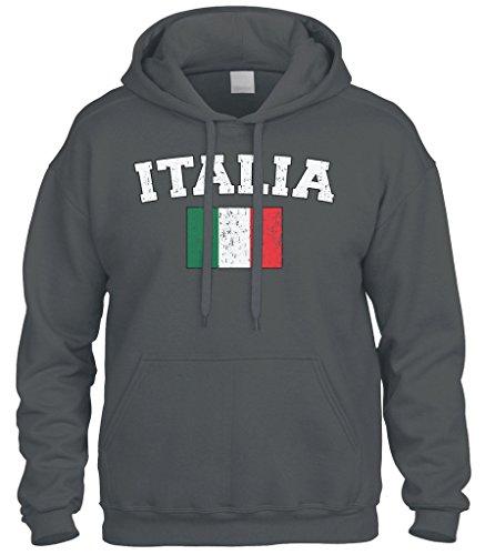- Cybertela Faded Distressed Italia Flag Sweatshirt Hoodie Hoody (Charcoal, Small)