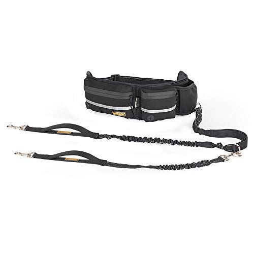 """Hands Free Dog Leash, Dog Walking and Training Belt with Shock Absorbing Bungee Leash for up to 180lbs Large Dogs, Phone Pocket and Water Bottle Holder, Fits All Waist Sizes From 28"""" to 48"""""""