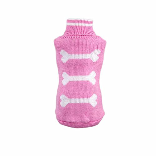 Image of HP95(TM) Hot!Pet Dog Winter Woolen Sweater Knitwear Puppy Clothing Warm Bone High Collar Jacket (S, Pink)