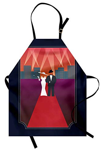 Ambesonne Old Hollywood Apron, Illustration of a Couple with Retro Fashion Dresses Walking on The Red Carpet, Unisex Kitchen Bib Apron with Adjustable Neck for Cooking Baking Gardening, Multicolor -