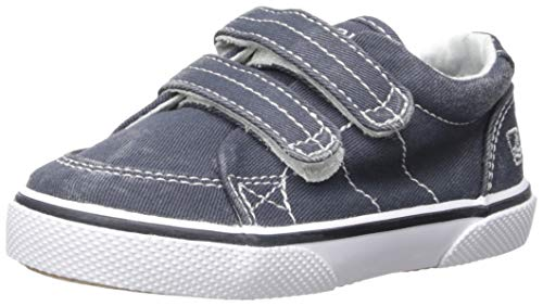 Sperry Halyard Hook & Loop Boat Shoe (Toddler/Little Kid),Navy Saltwash Canvas,12 M US Little Kid (Sperry Top Sider Boys Billfish Boat Shoes)