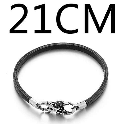 - Gabcus Brown Blue Double Layer of The First Layer of Leather Bracelet 925 Sterling Silver Bracelets SCNP008 - (Metal Color: Single Layer 21CM)