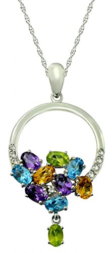 "RB Gems Sterling Silver 925 Pendant Necklace MULTI-COLOR GENUINE GEMSTONE with RHODIUM-PLATED Finish, 18"" (swiss-blue-topaz)"