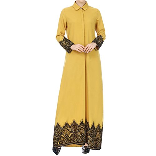Joint Long Sleeve - Joint Women Lace Trimmed Front Abaya Muslim Maxi Kaftan Kimono Long Sleeve A Line Maxi Dress Loose Robe (X-Large, Yellow)