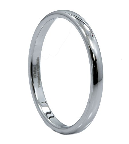 MJ Metals Jewelry 2mm White Tungsten Carbide Polished Classic Wedding Ring Band Size 7.5